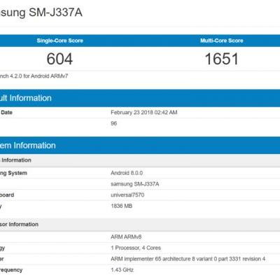 Galaxy J3, J3 Pro (2018) Hit Geekbench With Android 8.0, 2GB RAM