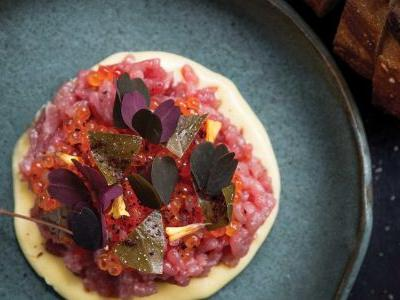 Veal Tartare with Trout Roe, Capers, and Fiore Sardo Dressing