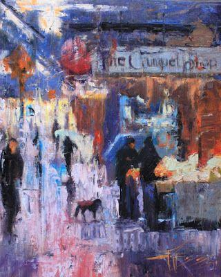"""""""Pike Place Downpour"""" Seattle city oil painting by Robin Weiss"""