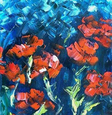 """Abstract Flowers,Palette Knife Oil Painting """"Moonlit Poppies"""" by Colorado Impressionist Judith Babcock"""