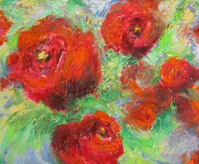 """""""Roses in Motion"""" Original abstract rose oil on canvas by Janice Trane Jones"""
