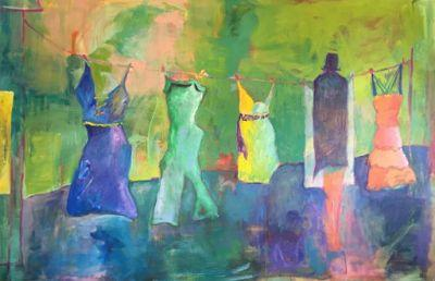 "Contemporary Fine Art Painting,Clothes Line ""Just Hanging Out"" by Oklahoma Artist Nancy Junkin"