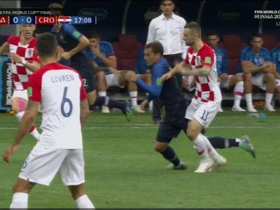 Antoine Griezmann committed an egregious flop to give France an early lead in the World Cup final