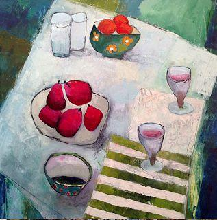 """Contemporary Expressionist Still Life Art Painting """"For Two"""" by Santa Fe Artist Annie O'Brien Gonzales"""