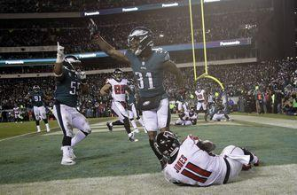 Eagles use goalline stand, Elliott FGs to beat Falcons