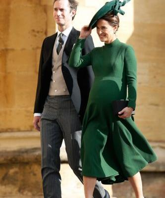 Pippa Middleton's Outfit For Princess Eugenie's Wedding Featured Her Baby Bump & Some Major Hat Goals