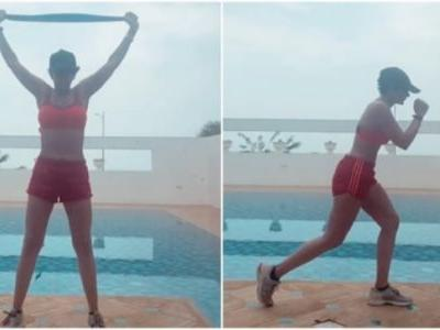 Mandira Bedi in sports bra and shorts works out by the pool in new video. Watch