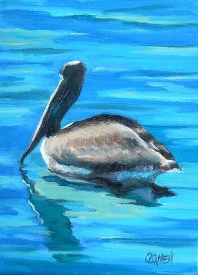 Pelican at the Port, 5x7 Original Oil Painting on Canvas Panel, Daily Painting