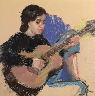 A Little Strumming - oil pastel figurative drawing