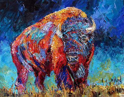 """Bison Painting, Buffalo, Contemporary Wildlife, Palette Knife Oil Painting """"Bison Plains"""" by Texas Artist Debra Hurd"""