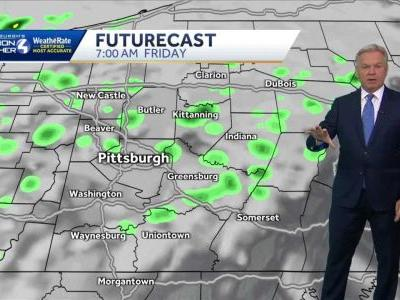 Cloudy tonight, warm with a stray shower on Friday