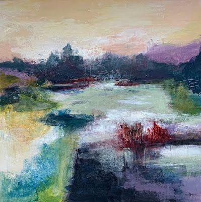 """Abstract Landscape, Contemporary Art, Trees """"BLANKETED IN COLOR"""" by Contemporary Artist Liz Thoresen"""
