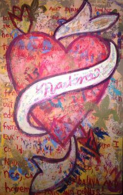 "Contemporary Abstract Art Narrative Art Painting,Heart ""Nadine"" Narrative Art by Santa Fe Artist Judi Goolsby"