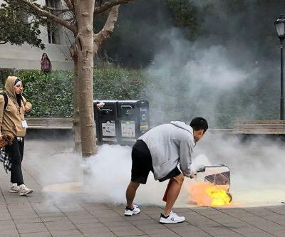 Delivery robot spontaneously bursts into flames in California