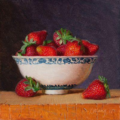 Strawberries in a bowl, still life oil painting original fruit daily painting a day