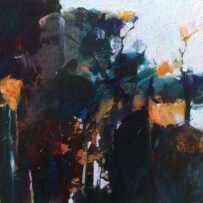"""Abstract Mixed Media Landscape Painting """"Moonlit Garden"""" by Intuitive Artist Joan Fullerton"""
