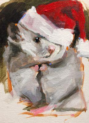 Santa's Little Helper 7 x 5 Acrylic by John K Harrell