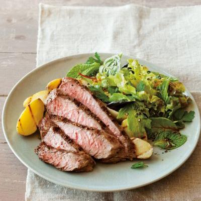 Grilled Steak and Fingerlings with Herb Salad