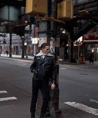 Ryan Keating Rocks Leather Fashions for Essential Homme