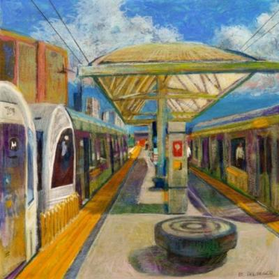 Watercolor & Pastel - Gold Line in Little Tokyo