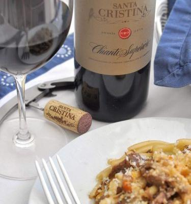 Casarecce Pasta with Braised Beef and Santa Cristina Chianti Superiore