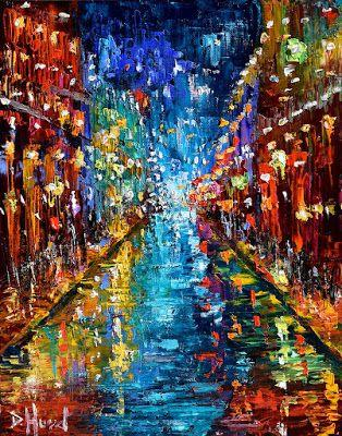 """New Orleans Cityscape Street Scene Abstract Art Painting """"Party Lights"""" by Texas Artist Debra Hurd"""