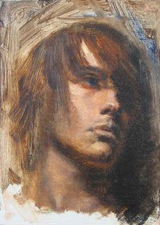 Male portrait 5x7 inches oil painting on panel