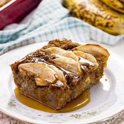 Vegan Apple Banana Bread Pudding