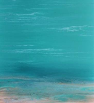 """Contemporary Beach Art, Abstract Seascape Painting, Coastal Art """"Whispers on the Water II"""" by International Contemporary Landscape Artist Kimberly Conrad"""