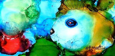 """Sea Life , Colorful Fish Painting """"Johnny The Rocker Fish"""" by Florida Impressionism Artist Annie St Martin"""