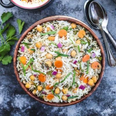 Instant Pot chickpea spinach Pulao