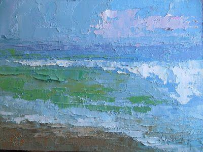 Small Oil Seascape, Palette Knife Painting, Daily Painting Small Oil Painting, 6x8