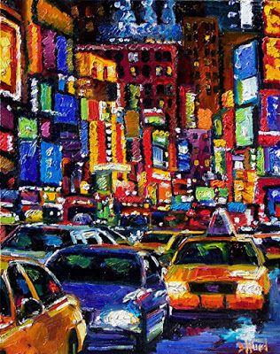 """Cityscape New York City """"Times Square-1-New York City"""" Abstract Urban Paintings Fine Art Painting """"Times Square"""" by Debra Hurd"""