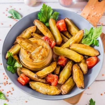 Oven-Baked Fries with Lentil Hummus