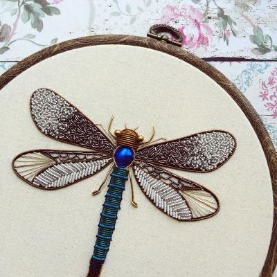 Shimmering Metallic Embroideries of Dragonflies and Other Insects by Humayrah Bint Altaf