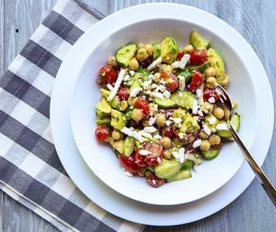 Summer Chickpea Salad with Tomatoes, Cucumber and Avocado