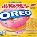 Oreo's Strawberry-Frosted Donut Cookies Are Stuffed With a Layer of Glittery Pink Cream