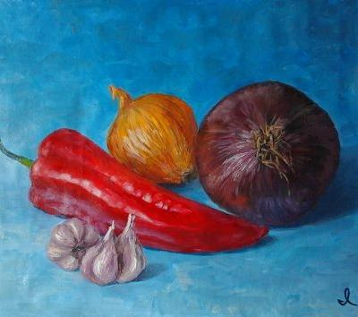 """Original oil painting """"Still life with red pepper"""". Size 9,5 x 13,6 inch (24 x 34,5 cm). Unstretched canvas."""