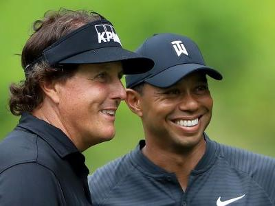 Tiger Woods and Phil Mickelson trade softball trash talk while announcing $10 million match