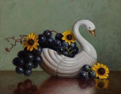 """""""Concord Grapes and Swan"""" Oil on 8x10 inch board"""
