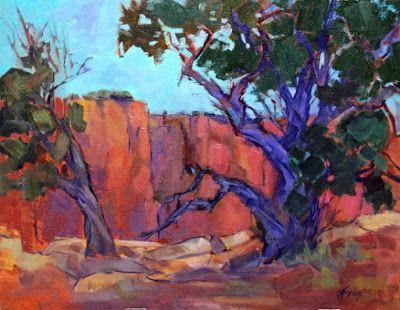 """Contemporary Impressionist Colorado Landscape Painting, Fine Art Oil Painting, Tree, """"Canyon Colors"""" by Colorado Contemporary Fine Artist Jody Ahrens"""