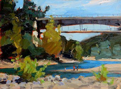 """Elwah River Bridge"" Paint the Peninsula 2018, plein air landscape by Robin Weiss"