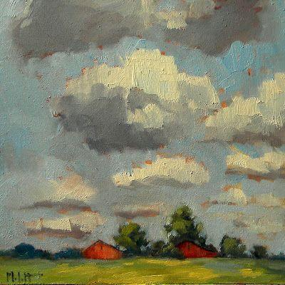 Red Barn Midwest Landscape Original Oil Paintings Heidi Malott