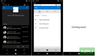 Sharepoint & Windows Camera app for Windows 10 mobile get updated