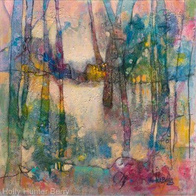 "Contemporary Landscape, Tree Painting, Mixed Media, ""Headed for Home"", By Passionate Purposeful Painter Holly Hunter Berry"