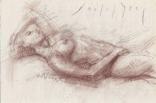 Laying female nude conte sk