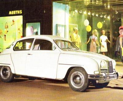 Yes, that's a lovely Saab 96, so why does the look on that Meeths-shopper look so terrified?