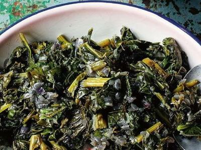 Collard Greens with Onions and Fresh Ginger