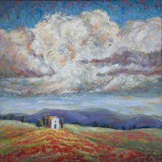"""Cloud Gazing ©2018 Niki Gulley SOLD • 24"""" x 24"""" textured oil painting on gallery wrap canvas Just Sold through the Good Art Company Gallery! Inspirerd by a trip to Italy, my husband wanted to stop and photograph this lone stone building. I was also"""