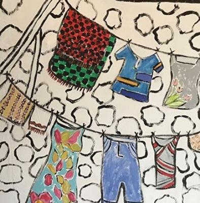 "Contemporary Painting, Folk Art, Narrative Art Painting,""Childhood Laundry Line, Kentucky"", Santa Fe Artist, Judi Goolsby"